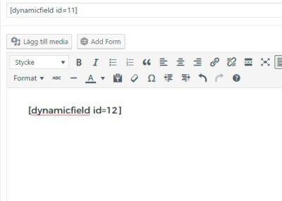 dynamic fields